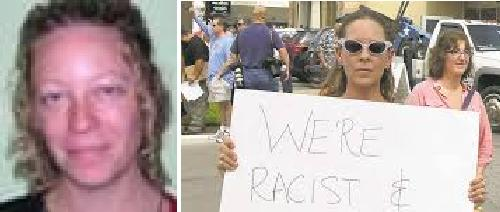 On the left is her mug shot not hiding behind the ...
