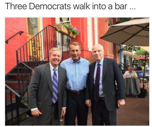 Three democrats walk into a bar………