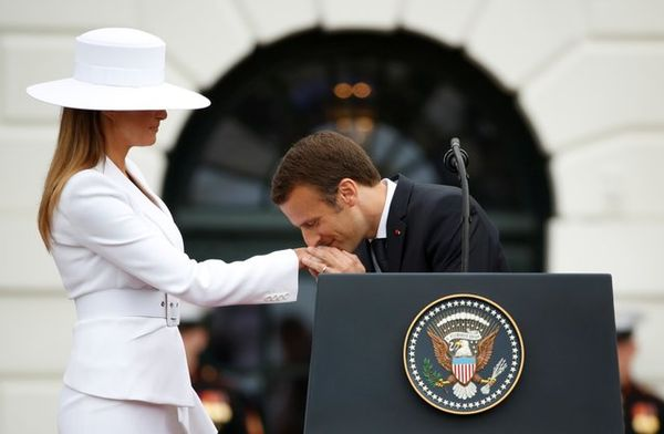 America's First Lady and the president of France....
